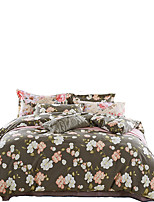 Floral Duvet Cover Sets 4 Piece Cotton Pattern Quilted Cotton Queen / King 1pc Duvet Cover / 2pcs Shams / 1pc Flat Sheet