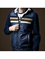 Men's Casual/Daily Simple Regular Hoodies,Galaxy Blue Hooded Long Sleeve Cotton / Polyester Fall / Winter Medium Inelastic