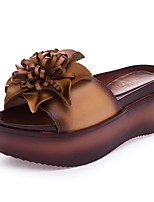 Women's Sandals Summer Platform Leather Casual Platform Flower Brown Gray Other