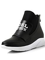 Women's Sneakers Spring / Fall Comfort PU Casual Flat Heel Slip-on Black / Red / White Sneaker