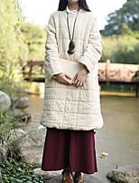 Пальто Шинуазери (китайский стиль) Длинная На подкладке Женский,Однотонный На каждый день Хлопок Хлопок,Длинный рукав Круглый вырез