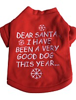 Cute Dear Santa Letter Red Fleece Christmas Shirt for Pets Dogs Winter Dog Clothes
