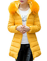 Women's Long Down CoatSimple / Street chic Plus Size / Going out / Casual/Daily Solid-Cotton Polypropylene Long Sleeve