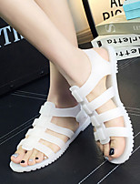 Women's Sandals Summer Slingback PVC Casual Flat Heel Others Black / White / Beige Others