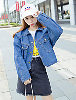 Women's Casual/Daily Simple Denim Jackets,Solid Long Sleeve Winter Blue Cotton Medium