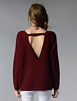 Women's Going out / Casual/Daily / Holiday Simple / Street chic Regular Pullover,Solid Red / Beige / Black V Neck Long Sleeve AcrylicFall