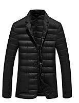 Men's Regular Padded Coat,Simple Casual/Daily Solid-Polyester Cotton Long Sleeve Blue / Black
