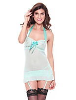 Women Babydoll Ultra Sexy Lace Nightwear Patchwork-Thin Lace Lingerie Silk Stockings