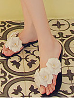 Women's Slippers & Flip-Flops Summer Slingback Rubber Casual Flat Heel Flower Black / White Others