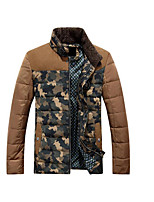 Men's Regular Down Coat,Simple Casual/Daily Solid-Polyester White Duck Down Long Sleeve Brown / Green