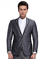SEVEN Men's Work / Party/Cocktail Simple Winter SuitsSolid Deep V Long Sleeve Gray Polyester Medium