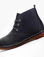 גברים-מגפיים-PU-נוחות-שחור חום-יומיומי-עקב שטוח