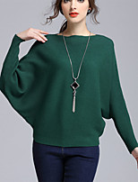 Hot SaleWomen's Casual/Daily Simple Regular PulloverSolid Red / White / Black / Gray / Green Boat Neck Long Sleeve Cotton Fall / Winter Medium