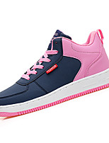Women's Sneakers Spring Fall Mary Jane PU Outdoor Athletic Flat Heel Lace-up Blue Red Black and White Walking