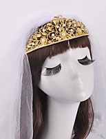 Fashion Individual Pearl Leaves Crown Bride Headdress