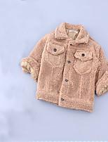 Девичий Куртка / пальто,На каждый день,Однотонный,Шерсть,Зима / Весна / Осень,Черный / Серый
