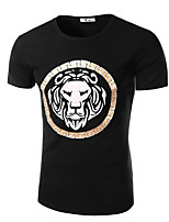Men's Summer Casual Animal Lion Print Round Neck Short Sleeve Black Cotton T-shirt