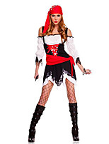 Cosplay Costumes Santa Suits / Pirate Halloween Red / White / Black Print Cotton Dress / Headpiece / Belt