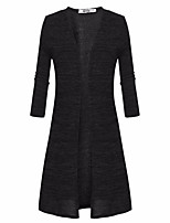 Women's Casual/Daily Simple Long Cardigan,Solid Black / Gray Asymmetrical Long Sleeve Polyester Fall Medium Micro-elastic