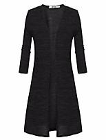 Long Cardigan Femme Décontracté / Quotidien simple,Couleur Pleine Noir / Gris Asymétrique Manches Longues Polyester Automne Moyen