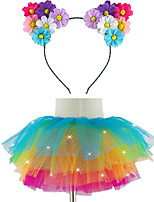 Led Light Up Tutu & Led Daisy Headband Set For KidsGirlsAdultsHalloween CoustumeChristmas GiftRave TutuCoachella