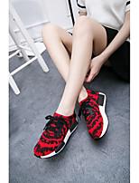 Черный Красный Черный и белый-Женский-Повседневный-Тюль-На танкетке-Удобная обувь-Кеды