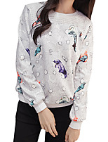 Women's Going out / Casual/Daily Sexy / Simple / Street chic Regular HoodiesSolid / Print / Animal Print White