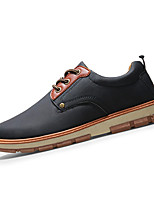 Men's Sneakers Spring / Fall Comfort PU Casual Flat Heel Lace-up Black / Blue / Brown / Yellow / Khaki Sneaker