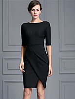 Baoyan Women's Casual/Daily Street chic Sheath DressStriped Round Neck Knee-length  Length Sleeve Black Polyester Fall Mid Rise Micro-elastic-160519