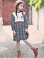 Girl's Casual/Daily Floral DressCotton Fall Black