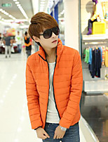 Men's Regular Padded Coat,Simple Casual/Daily Solid-Cotton Polyester Long Sleeve Orange