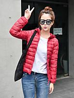 מעיל פוך מעיל נשים,אחיד פשוטה יום יומי\קז'ואל / מידות גדולות פוליאסטר נוצות ברווז לבנות-שרוול ארוך אדום / שחור / סגול