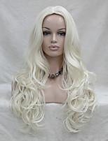 моды сексуальная без чёлки кожи белый верх светлые длинные волнистые синтетические полный парик косплей