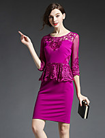GATHER BEAUTY Women's Going out SophisticaSheath DressEmbroidered Round Neck Above Knee  Sleeve Pink / Purple Rayon / Polyester / Nylon Fall High Rise