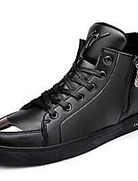 Черный / Синий / Бронзовый-Мужской-Для прогулок / Для офиса / На каждый день-Кожа-На плоской подошве-Удобная обувь-Кеды