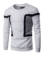 Men's Casual/Daily / Sports Simple / Active Regular Hoodies,Color Block Blue / White / Black Round Neck Long Sleeve Cotton Spring / Fall