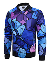 Men's Plus Size / Formal / Club Simple / Street chic / Active JacketsPrint V Neck Long Sleeve