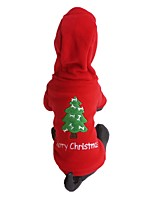 Elegant Fleece Christmas Tree Merry Christmas Red Dogs Shirt with Hoodie for Pets Dogs