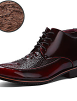 Men's Boots Fashion Boots / Comfort Leather Casual Flat Heel Lace-up Black / Gold / Burgundy Others
