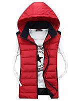 Men's Padded Coat,Street chic Plus Size Solid-Polyester Polypropylene Sleeveless Hooded Blue / Red / Beige / Black / Orange