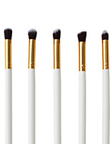 5 Makeup Brushes Set Nylon Hair Professional / Portable Wood Handle Eye White