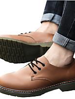 Unisex Oxfords Spring / Fall Comfort PU Casual Flat Heel  Black / Brown / Red Sneaker