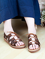 Women's Sandals Spring / Summer / Fall Comfort PU Casual Flat Heel Lace-up Coffee / Almond Others