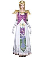 Inspiriert von The Legend of Zelda Alice Anime Cosplay Kostüme Cosplay Kostüme Druck / Patchwork Weiß / Lila ÄrmellosKleid / Handschuhe /