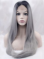 Top Grade Two Tone T1B/Grey Synthetic Wigs Straight Hair Heat Resistant Lace Front Wig