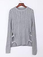 Для женщин На каждый день Уличный стиль Обычный Пуловер Однотонный,Синий Бежевый Серый Круглый вырез Длинный рукав Акрил Осень Средняя