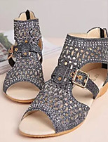 Women's Sandals Summer Comfort PU Casual Wedge Heel Buckle Black Gold Almond Others