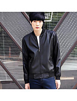 Men's Casual/Daily Simple Jackets,Solid Long Sleeve Fall Black Polyester Medium