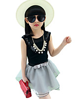 Girl's Casual/Daily Solid Dress / Clothing SetCotton Spring / Fall Black