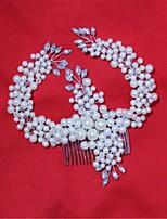 Mulheres Strass Liga Imitação de Pérola Capacete-Casamento Ocasião Especial Pentes de Cabelo 1 Peça